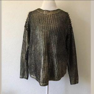 Forever 21 Gold Black Shoulder Studded Sweatshirt
